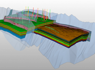 Structural model created with JewelSuite 6 Subsurface Modeling