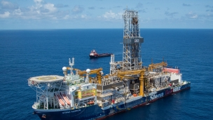 Drillship working offshore Guyana