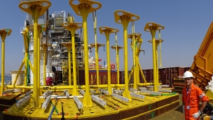 Transponder frames being readied for deployment at Kaombo