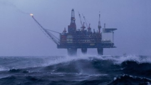 oil rig in stormy weather