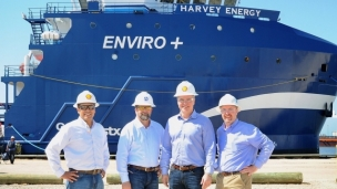 Shell and Harvey Gulf International have combined to put in service, the first LNG powered Offshore Supply Vessel (OSV) which will bring supplies to many of Shell's Gulf of Mexico assets, such as the new Olympus platform